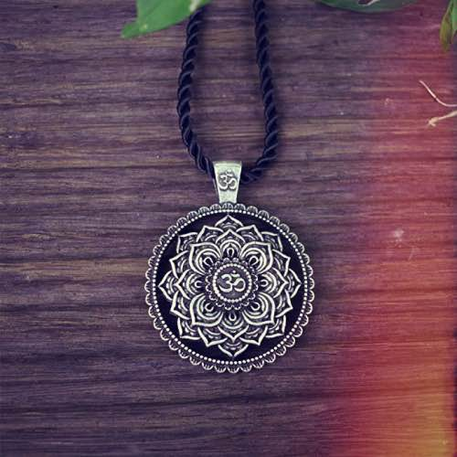 Schwarze Lederkette Om Zeichen Symbol Halskette Buddha Yoga Yin Yang Surferkette